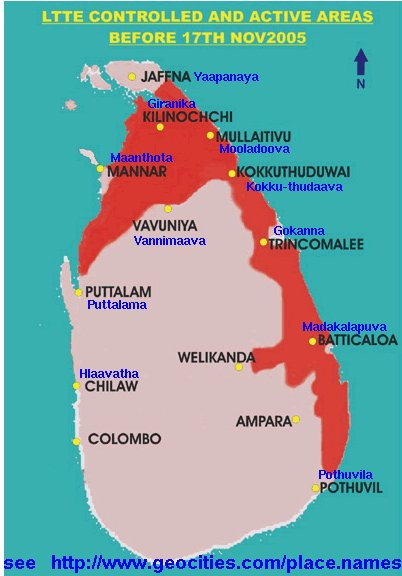 TRADITIONAL SINHALA PLACE NAMES OF TOWNS IN THE NORTH AND