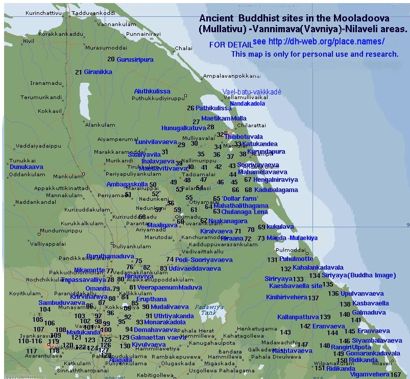 Interactive map of Ancient Buddhist sites in the Vanni, Sri Lanka