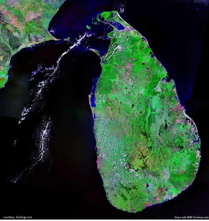 Sri Lanka satellite photo